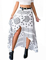 Women's Bohemian Style Print Fashion Bandage Irregular All Match Split Skirts,Vintage / Holiday Midi