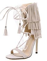Scarpe Donna-Sandali-Tempo libero / Casual-Tacchi / Aperta-A stiletto-Scamosciato-Nero / Marrone / Tessuto almond