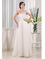 Formal Evening Dress-Ivory A-line One Shoulder Floor-length Chiffon / Lace