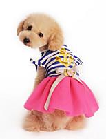 Cães Vestidos Rosa / Amarelo Verão / Primavera/Outono Clássico / Riscas Listrado / Fashion-Lovoyager