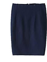De las mujeres Faldas-Sobre la rodilla Chic de Calle Rígido-Algodón