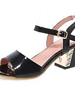 Women's Shoes Chunky Heel Heels / Peep Toe Sandals Casual Black / Pink / Purple / White / Almond