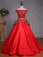 Princess Wedding Dress-Ruby Floor-length Off-the-shoulder Satin / Tulle / Sequined