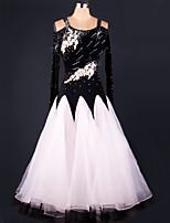 Ballroom Dance Dresses Women's Performance Chinlon / Organza Draped 1 Piece Black