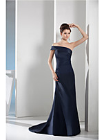 Formal Evening Dress-Dark Navy Sheath/Column Bateau Court Train Taffeta
