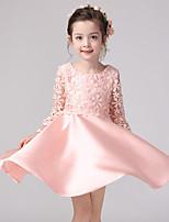 Ball Gown Knee-length Flower Girl Dress - Lace / Satin Long Sleeve
