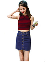 Women's Solid Blue Denim Skirts,Casual / Day / Holiday Above Knee