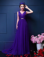 Formal Evening Dress-Grape Sheath/Column V-neck Court Train Tulle / Sequined