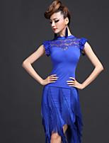 Latin Dance Outfits Women's Performance Chinlon / Viscose Tassel(s) 2 Pieces Black / Fuchsia / Royal Blue Latin Dance