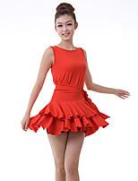 Latin Dance Dresses Women's Training Milk Fiber Draped / Ruffles 2 Pieces Black / Dark Purple / Red
