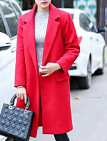 Women's Solid Red / Black Pea Coats,Plus Size Long Sleeve Wool