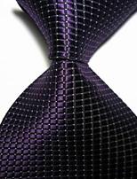 New Black Checked JACQUARD WOVEN Men's Tie Necktie TIE2014