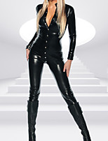 Lady Full Sleeve With Botton PVC Catsuit Jumpsuit