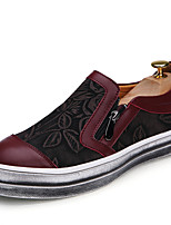 Men's Shoes Outdoor / Casual Leather / Fabric Loafers Black / Burgundy