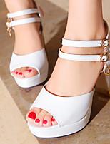 Women's Shoes Chunky Heels/Platform/Open Toe Sandals Party & Evening/Dress Black/Pink/White/Beige