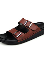 Zapatos de Hombre-Sandalias / Sin Cordones-Exterior / Casual-Cuero-Marrón