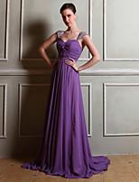 Floor-length Chiffon Bridesmaid Dress-Regency Sheath/Column Straps