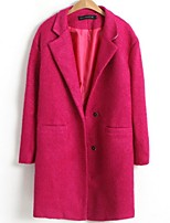 Women's Solid Pink / Black / Green Pea Coats,Simple Long Sleeve Wool