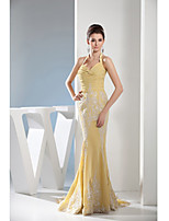 Formal Evening Dress Trumpet/Mermaid Halter Court Train Chiffon
