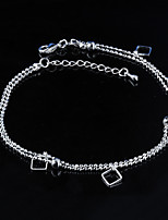 Women's Fashion Platinum Plated Square Anklets