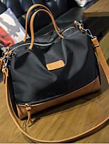 Women Oxford Cloth Shopper Shoulder Bag - Brown / Black