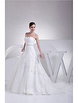 A-line Wedding Dress-Ivory Chapel Train Strapless Lace / Satin / Tulle