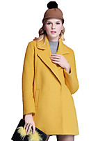 Women's Solid Pink / Yellow Coat,Simple / Street chic Long Sleeve Wool