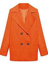 Women's Solid Blue / Orange Coat,Simple / Street chic Long Sleeve Wool