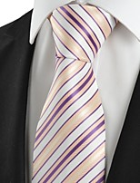 KissTies Men's Purple Yellow Striped Microfiber Tie Necktie For Wedding Party Holiday With Gift Box