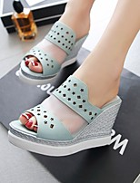 Women's Shoes Wedge Heel Wedges / Peep Toe / Platform Sandals Dress / Casual Blue / Pink / White / Almond