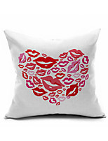 Love Hot Kiss Cotton/Linen Pillow Cover , Nature Modern/Contemporary  Pillow Linen Cushion