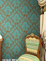 HaokHome®  Vintage Damask Wallpaper Green/Bronze Retro Victoria Flocking Murals Wall Paper Home Decoration Wall Covering