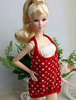 Poupée Barbie-Rouge / Blanc-Informel-Robes- enLaineux