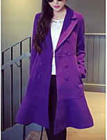 Women's Solid Green / Purple Coat,Simple Long Sleeve Polyester