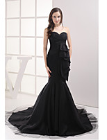 Formal Evening Dress-Black Trumpet/Mermaid Sweetheart Court Train Taffeta / Tulle