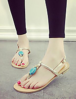Women's Shoes Bohemia Beach Gem Patent Leather Flat Heel Toepost Comfort / Round Toe / Open Toe Sandals Outdoor / Casual