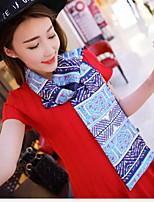 Women Summer New Fashion Printed Silk Scarves Korean Retro Double Satin Scarf (Random Color)