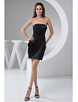 Cocktail Party Dress-Black Sheath/Column Strapless Short/Mini Chiffon / Satin