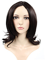 Capless Black Color Medium Length High Quality Natural Wave Hair Synthetic Wig
