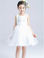 A-line Knee-length Hollow Lace Flower Girl Dress-Cotton / Satin / Tulle Sleeveless