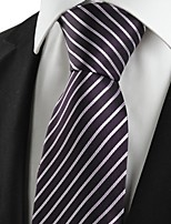 KissTies Men's Striped White Purple Black Microfiber Tie Necktie For Wedding Party Holiday With Gift Box