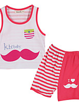 Girl's Red Clothing Set Cotton Summer / Spring