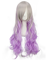 Hot Sale Long Curly White To Purple Color Cheap Cosplay Wigs for Women