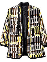 Women's Print Yellow Trench Coat,Simple / Street chic ¾ Sleeve Polyester