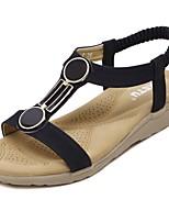 Zapatos de mujer-Plataforma-Plataforma / Gladiador-Sandalias-Oficina y Trabajo / Vestido / Casual-Semicuero-Negro / Almendra
