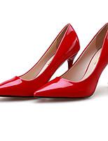 Zapatos de mujer-Tacón Stiletto-Tacones / Puntiagudos / Punta Cerrada-Tacones-Vestido-Semicuero-Negro / Rosa / Rojo / Blanco / Plata