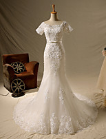 Trumpet/Mermaid Wedding Dress-Ivory Short Sleeve Chapel Train Square Lace / Satin / Tulle