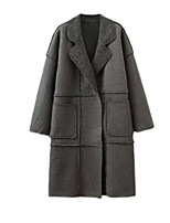 Women's Solid Black / Gray Coat,Simple Long Sleeve Polyester