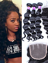 Loose Wave Lace Closure With 3Pcs Bundles Unprocessed Malaysian Virgin Hair With Closure Sunny Queen Hair Products