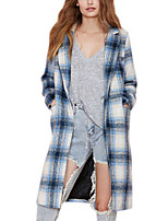 Women's Plaid Blue Coat,Simple Long Sleeve Polyester